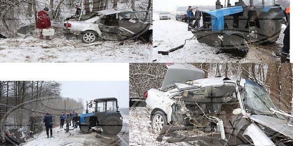 В Лидском районе, ковш трактора насквозь проткнул легковушку