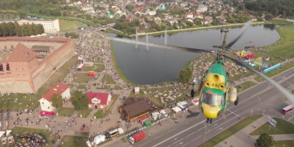 Опубликовано видео опасного сближения вертолета и дрона над Лидой