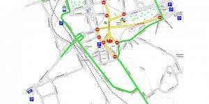 Альтернативные пути объезда указаны зеленым цветом.