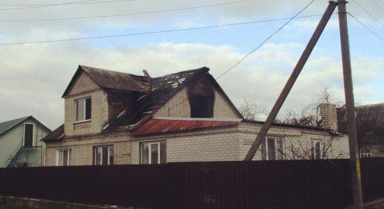 В Лиде горел жилой двухэтажный дом