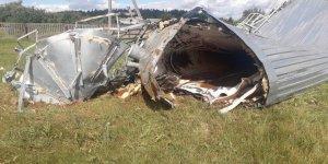 В Лидском районе из-за сильного ветра рухнула водонапорная башня